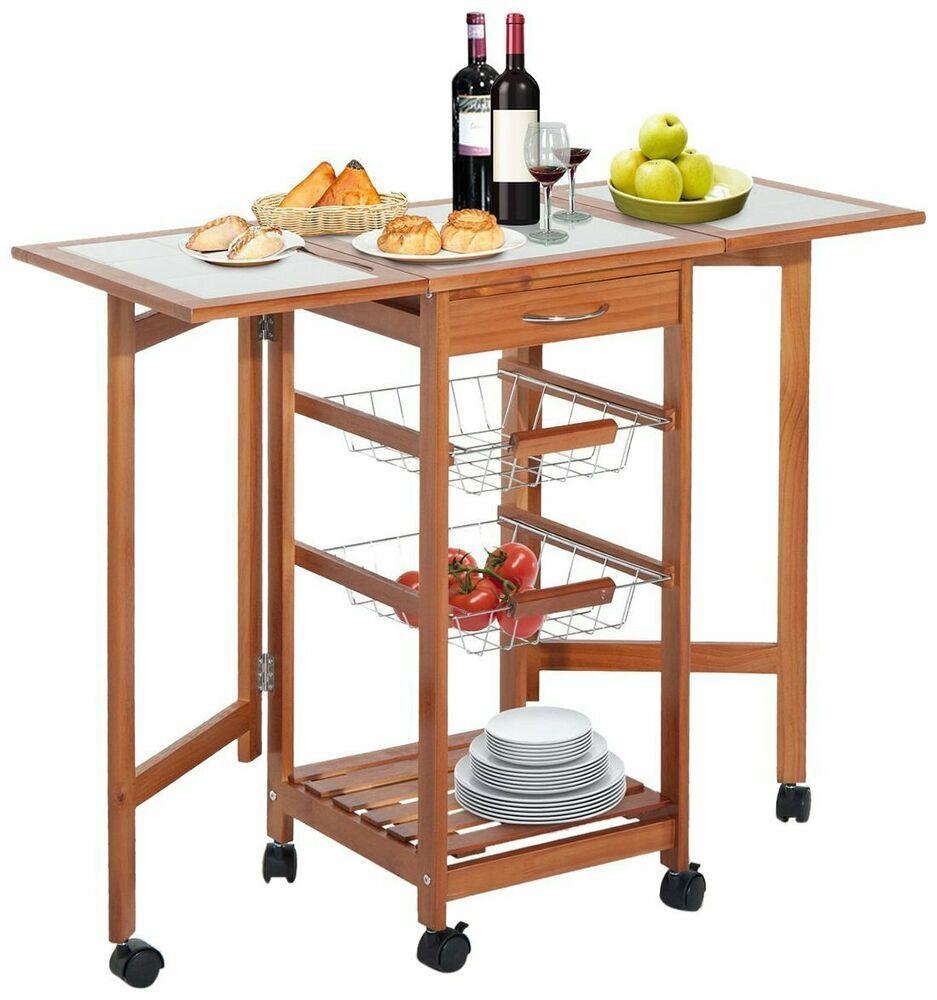 Kitchen Cart Folding Table Island With Baskets Desk Homcom Moderncontemporary Kitchen Furniture Storage Modern Wooden Kitchen Drop Leaf Kitchen Island