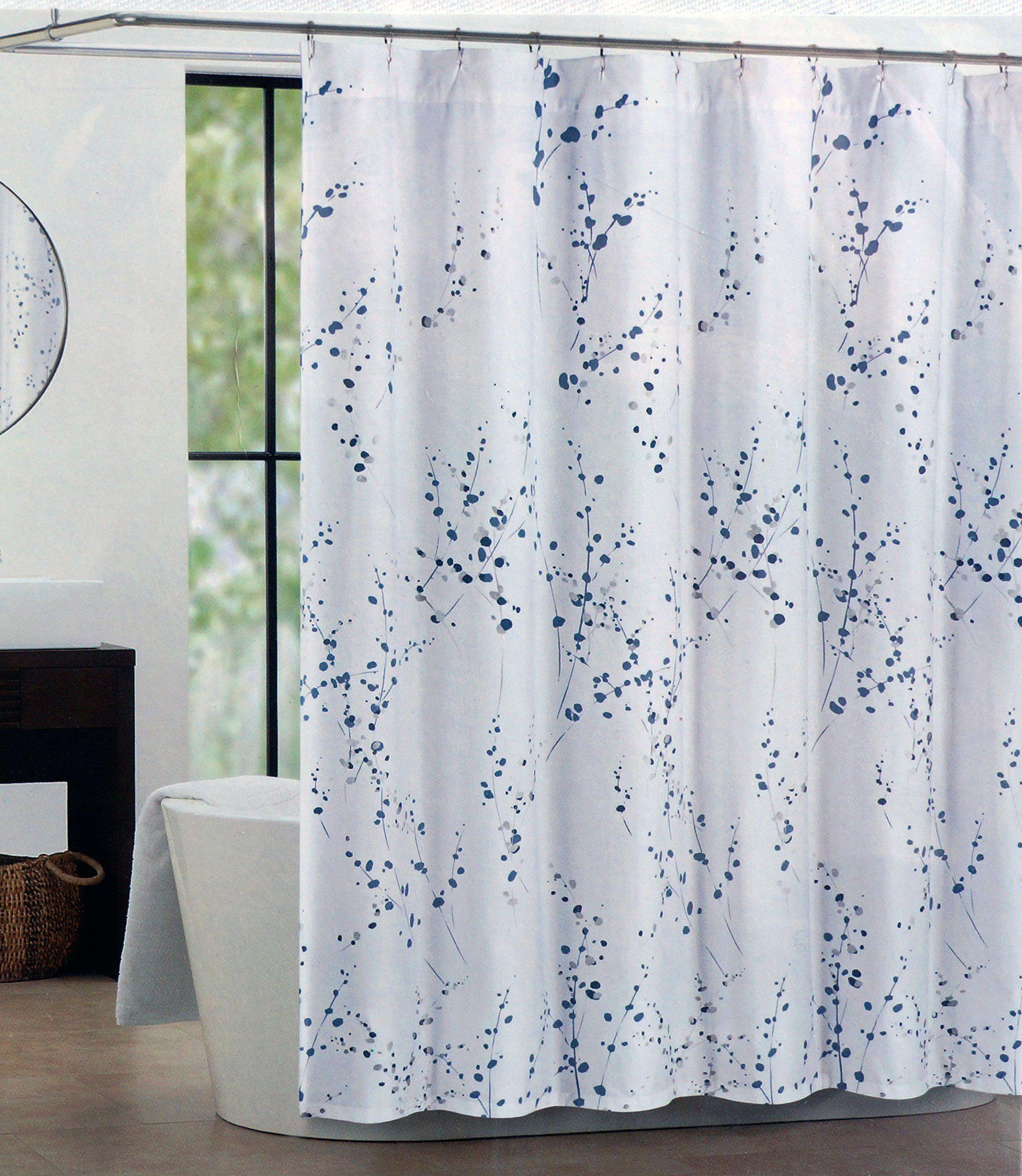 Tahari Fabric Shower Curtain Blue Silver Sprigs Curtains