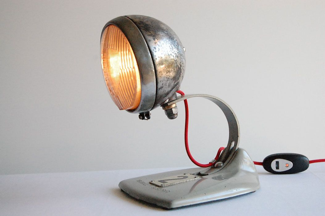 Bobber Metal Motorcycle Headlight Handcrafted Vintage Industrial Desk Lamp 100 00 Via Etsy Http Vintage Industrial Desk Lamp Vintage Industrial Furniture