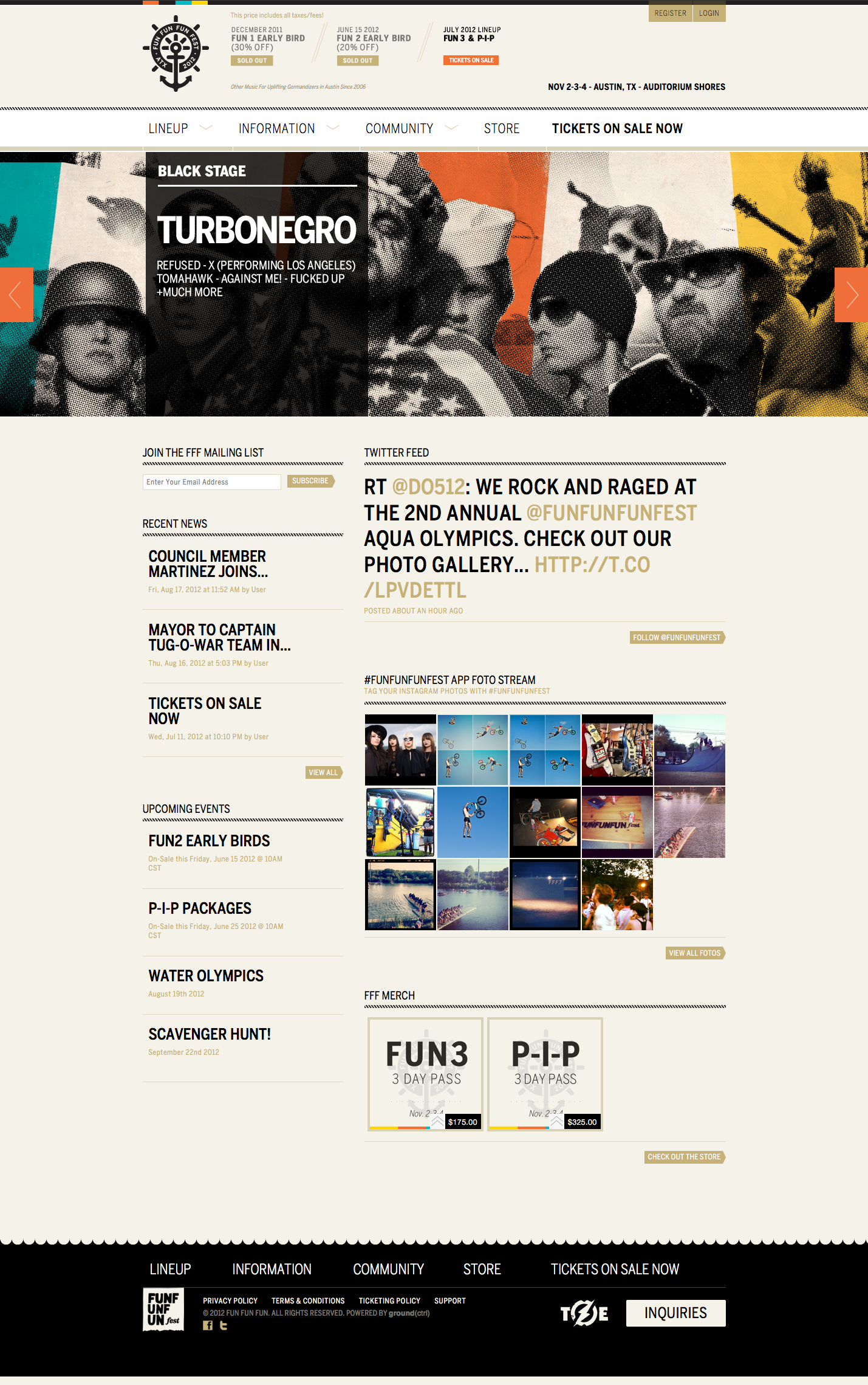 Fun Fun Fun Fest Webdesign Austin