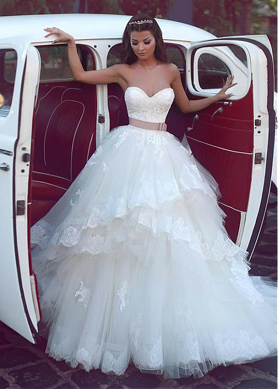 244 80 Elegant Tulle Sweetheart Neckline Ball Gown Wedding