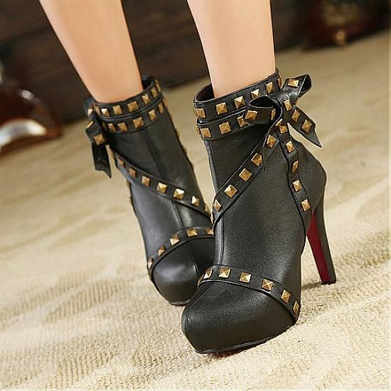 Womens Boots | Lovely PU Rivet Black Round Closed Toe Stiletto Super High Heel Boots - Hugshoes.com