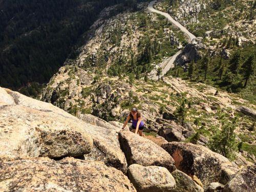 Scrambling up the black wall (at Donner Pass)