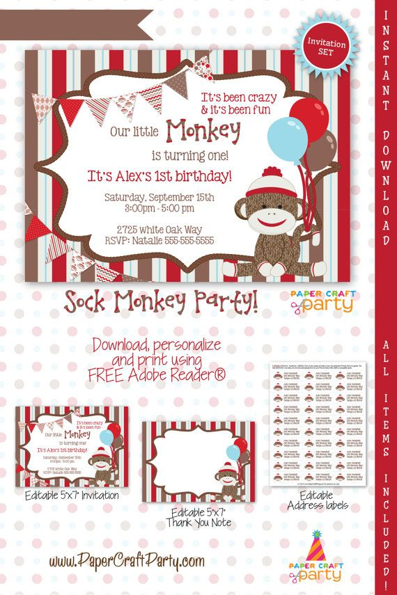 Sock Monkey Invitation | INSTANT DOWNLOAD & Edit in Adobe Reader ...
