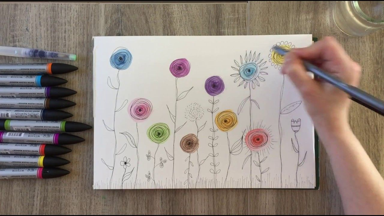 Easy Flower Doodles With Winsor And Newton Watercolor Markers