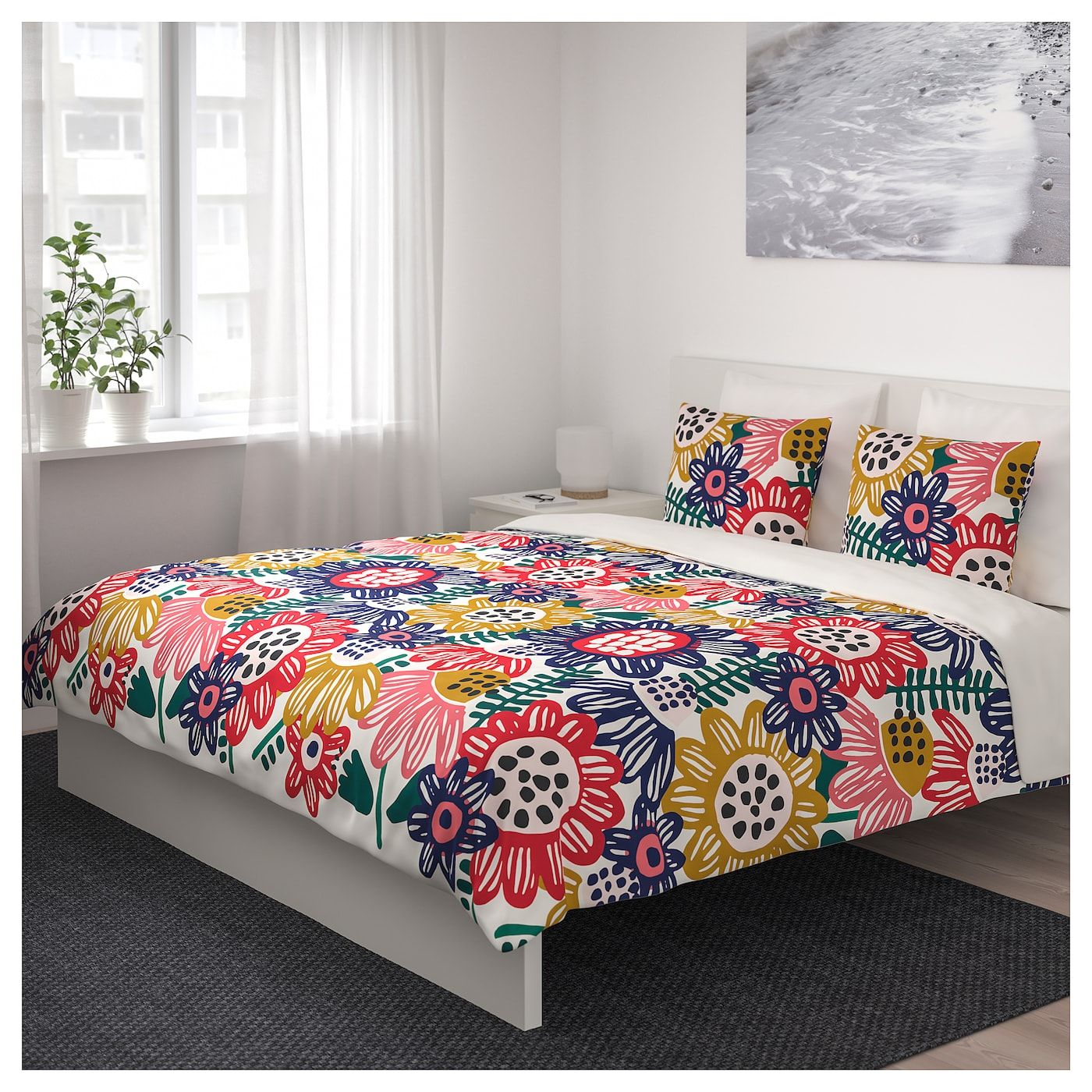 Ikea Alvine Kvist Black And White Floral Double Bed Sheets Duvet Want Must Need Designerbedsheets Bed Linens Luxury Bed Linen Design Double Bed Sheets