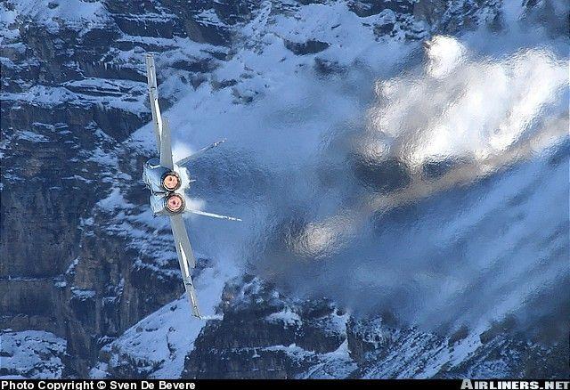 F/A-18C Hornet jelly-burning over Switzerland.