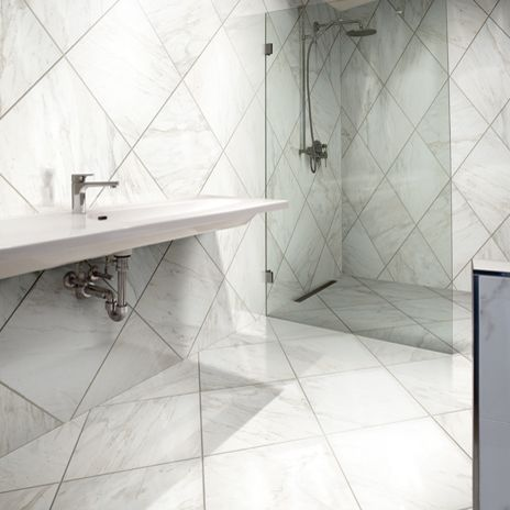 Carrara Marble Look Porcelain Tile In Stand Up Shower Google Search