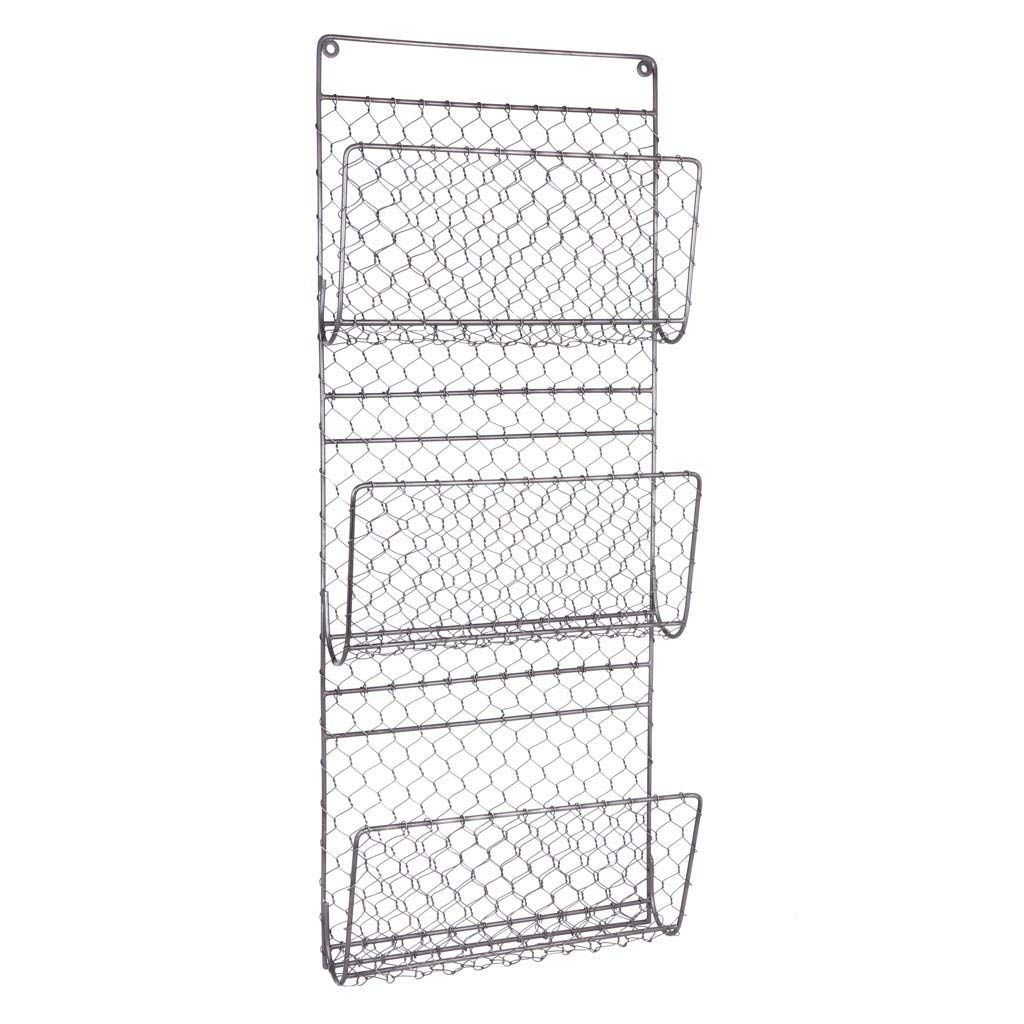 Dibor 3 Compartment Wall Mounted Metal Mail And Magazine Rack Storage Holder Amazon Co Uk Kitchen Home