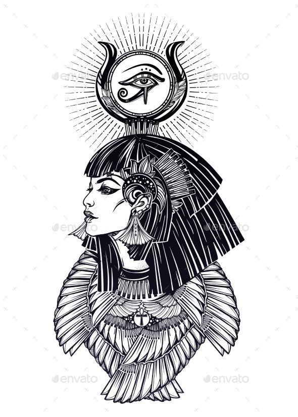 Isis diety. Portrait of a beautiful egyptian goddess or princess. Cleoptra or Ne - Isis