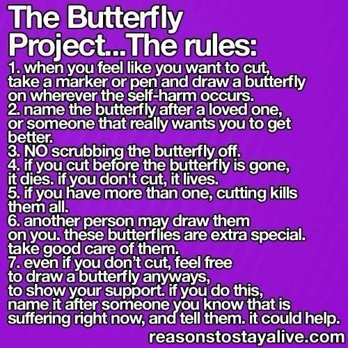 Semicolon Depression Self Harm And Suicide Awareness: People That Self Harm... Please Try The Butterfly Project