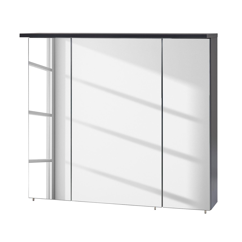 Wohnzimmer spiegelmöbel eek a spiegelschrank varde inkl beleuchtung  basaltgrau