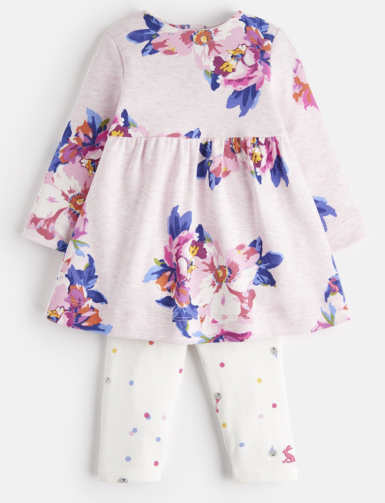 Joules Baby Christina Printed Jersey Dress And Leggings Set in WHITE FLORAL
