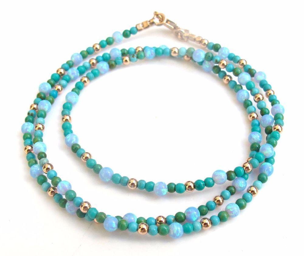 14k solid rose gold turquoise opal beads gemstone bracelet wrap blue green gem #symbolina #Beaded