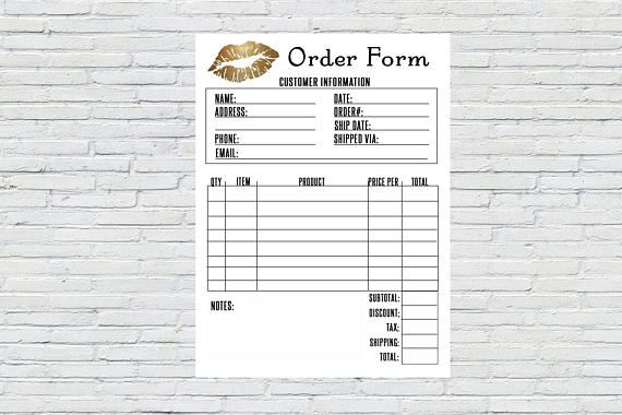 Printable Order Form Gold Lips Instant Download Printable Invoice Sales Receipt Makeup Invoice Lipsense Invoice Senegence Order Form Printable Invoice Senegence Lipsense Business Cards