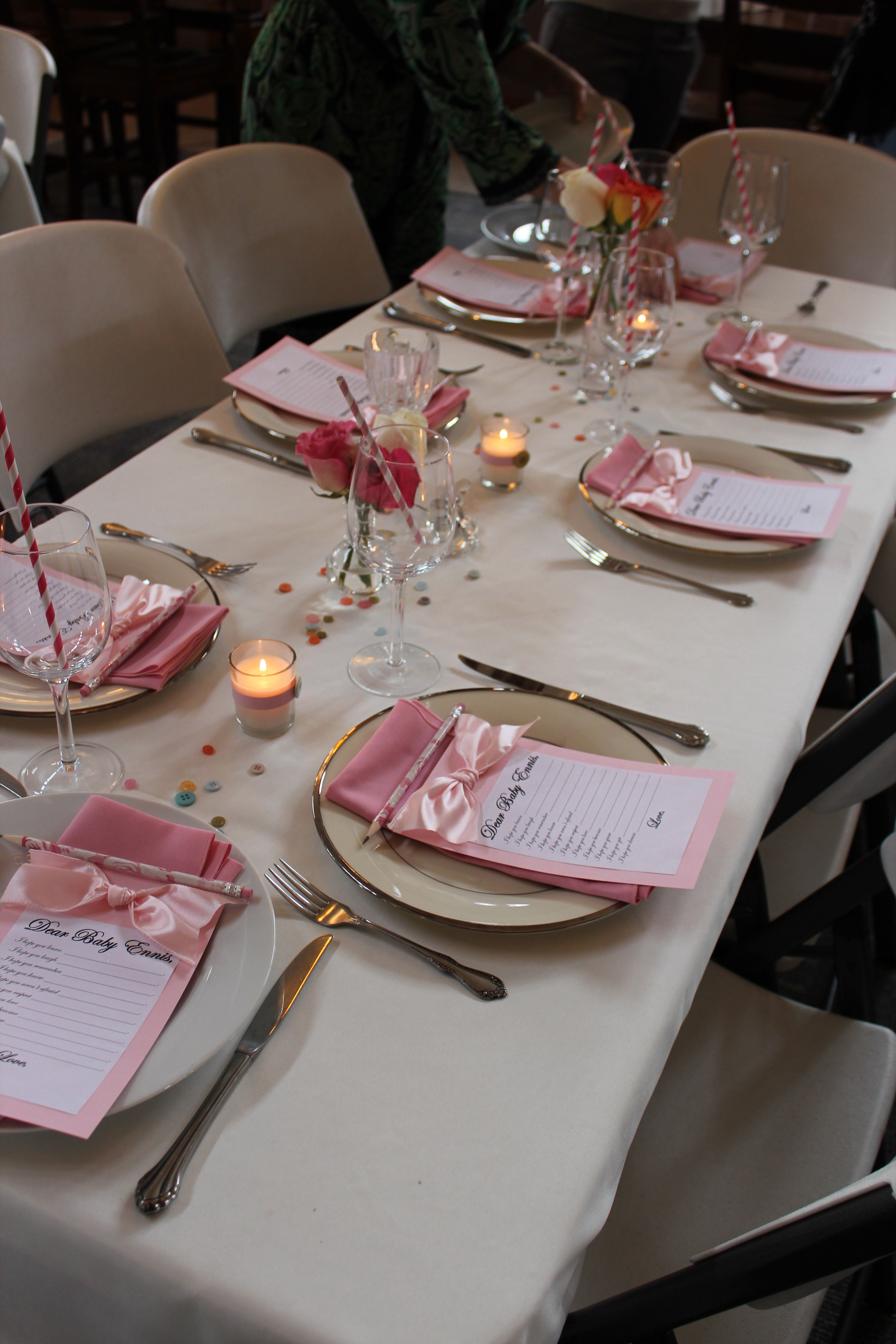 Restaurant table setting ideas - Baby Shower Table Setting