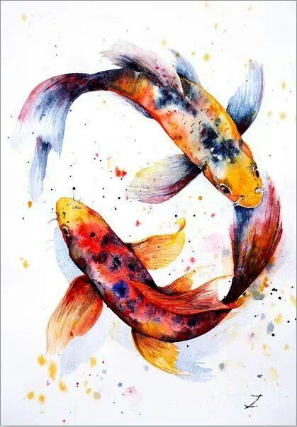Harmony Koi Kunst Aquarell Fisch Und Fisch Kunst