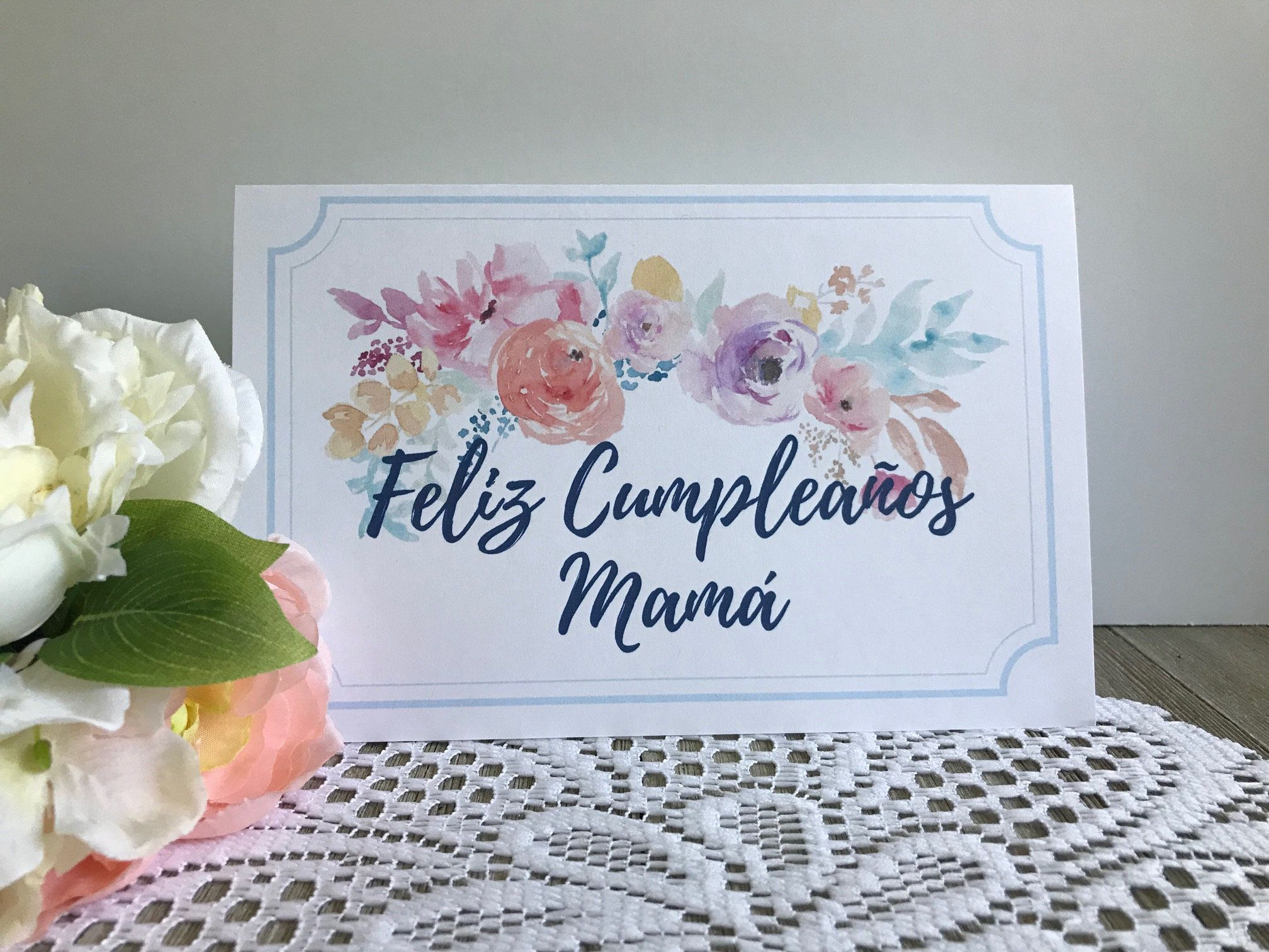 image about Spanish Birthday Cards Printable titled Printable Birthday Card for Mother within just Spanish - Feliz