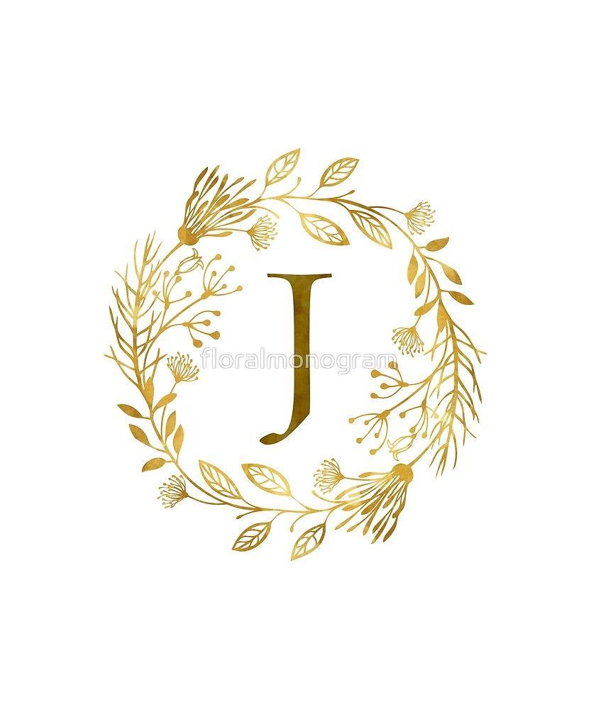 Monogram J Elegant Gold Foliage Sticker By Floralmonogram In 2021 Floral Poster Alphabet Wallpaper Floral Monogram