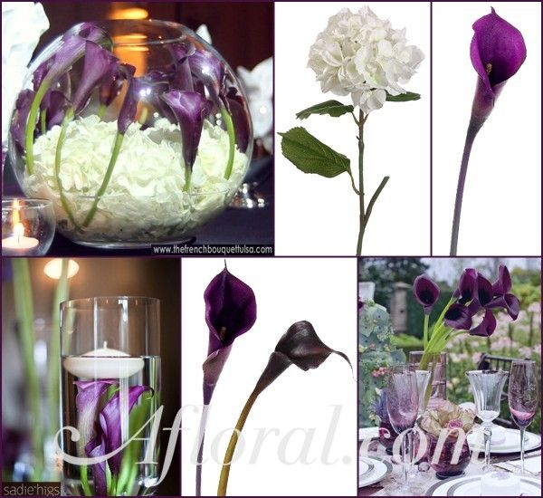 calla lilies flowers centerpieces | Dark Purple Calla Lily Submersible Wedding Flowers ~ Brittany's ...
