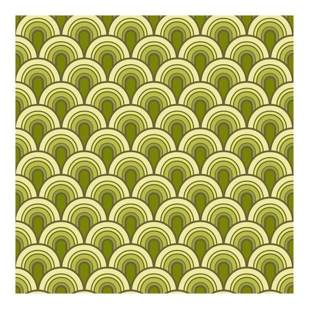 Mustertapete Retro Schuppen Grün 70er Jahre