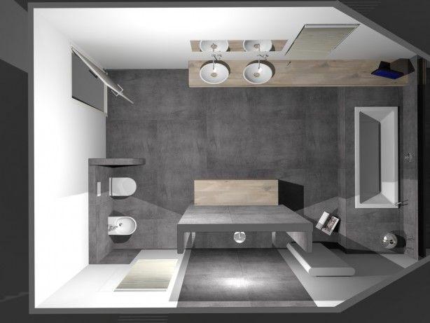 Strakke badkamer met stijlvolle waskommen op maatwerk blad. De ...