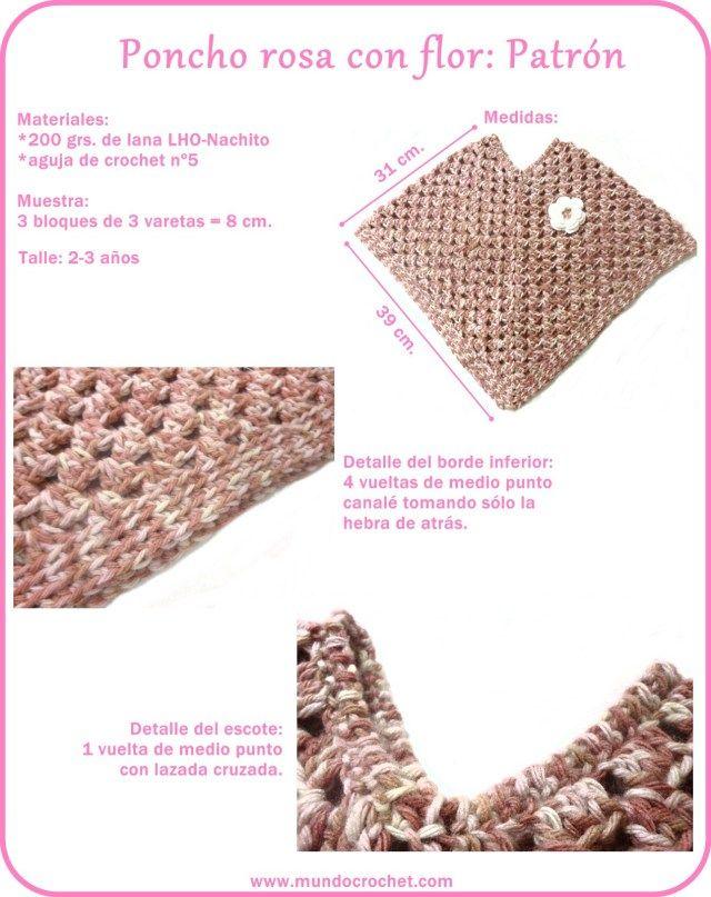Patron poncho granny a crochet o ganchillo | Ponchos Chales Ruana ...