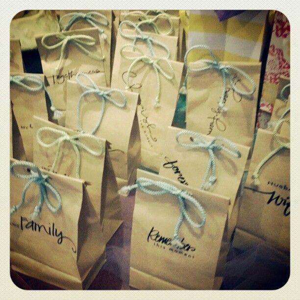 Cute paper bag favors at a bridal shower!