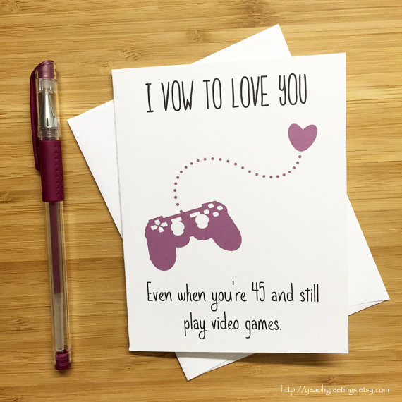 Cute Love Card for Video Game Lovers Nintendo by YeaOhGreetings - printable anniversary cards for him