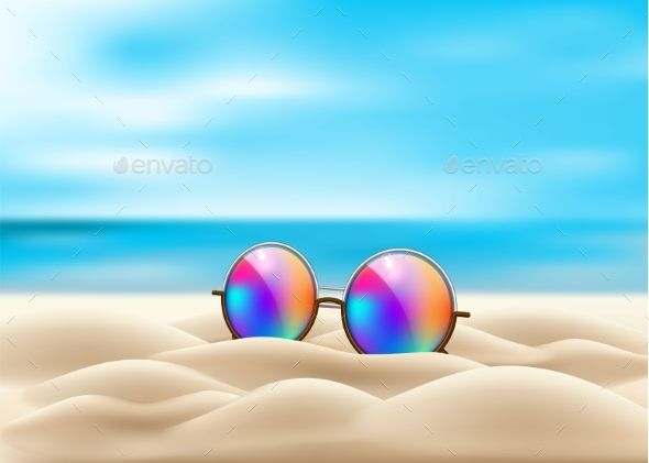 789a6cd7634a0 Vector realistic retro circle eyeglasses on beach sand. Vintage hipster  gradient lens on seaside ocean background for summer vacation holiday beach  pool ...