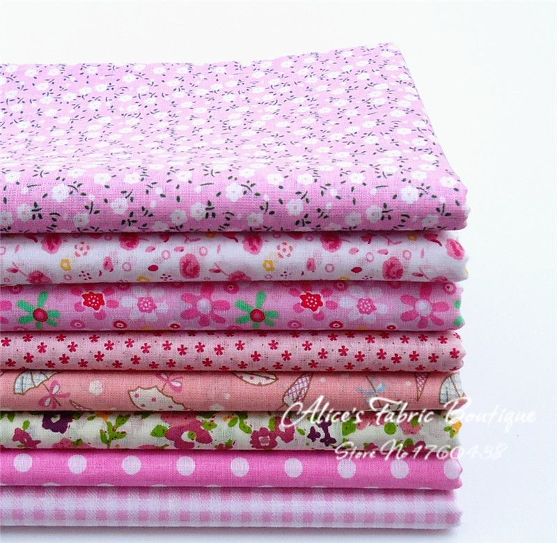 a23f2144df5c75 Barato ( 8 peças/lote ) rosa de tecido patchwork 100% algodão floral ...
