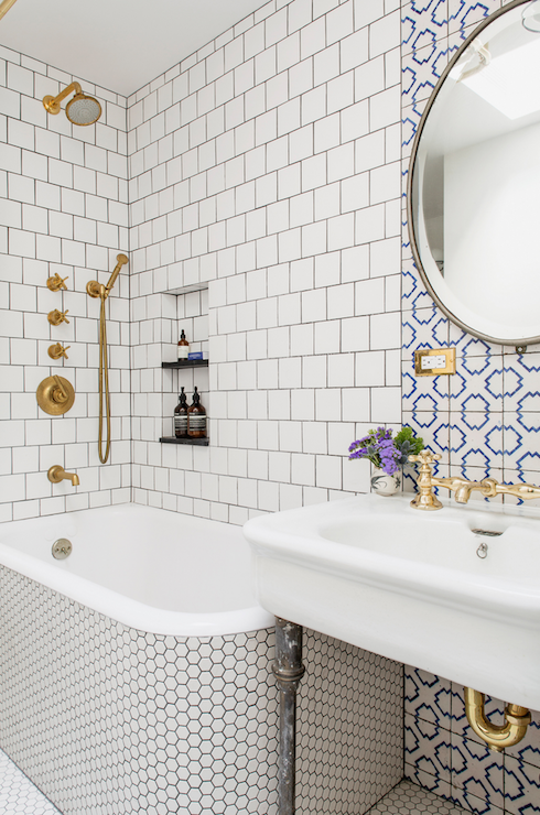 Gorgeous Bathroom Features A Bathtub Shower Combo Clad In White Hex Tiles Under Square Tiled Surround Installed Brick Pattern Lined With