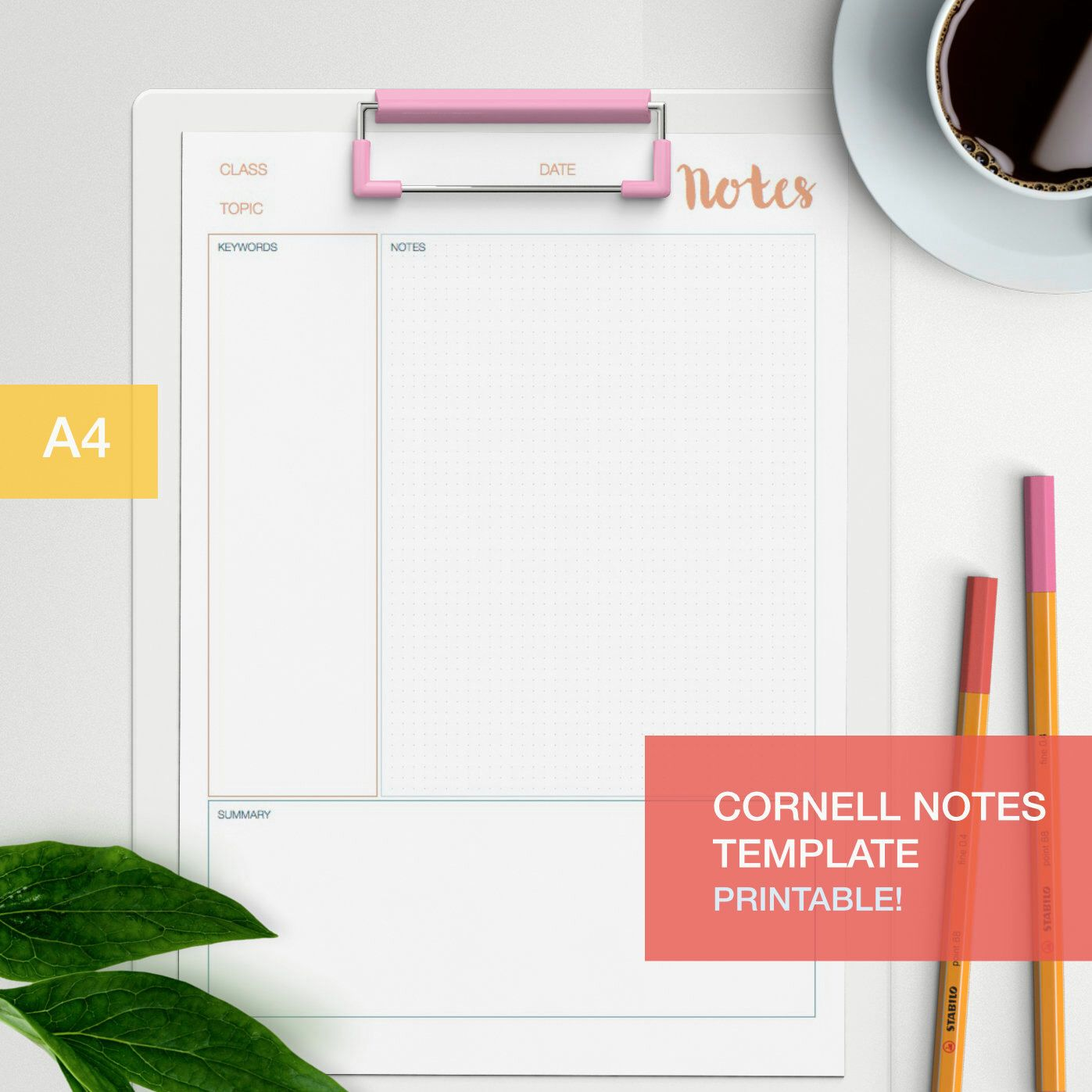 Cornell Notes Template Di Bumblebeasy Su Etsy HttpsWwwEtsyCom