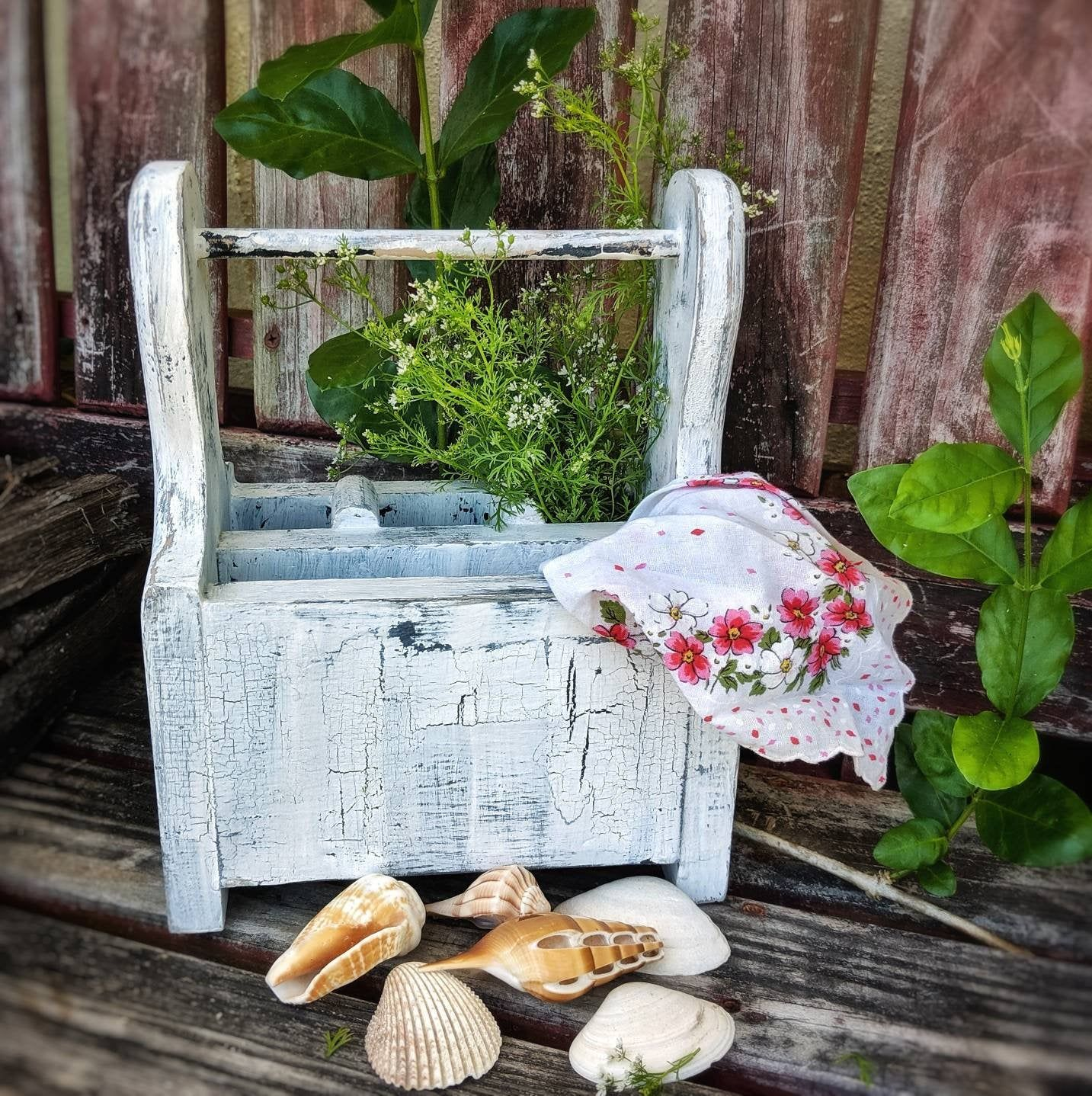 Rustic Wooden Silverware And Napkin Holder In Distressed