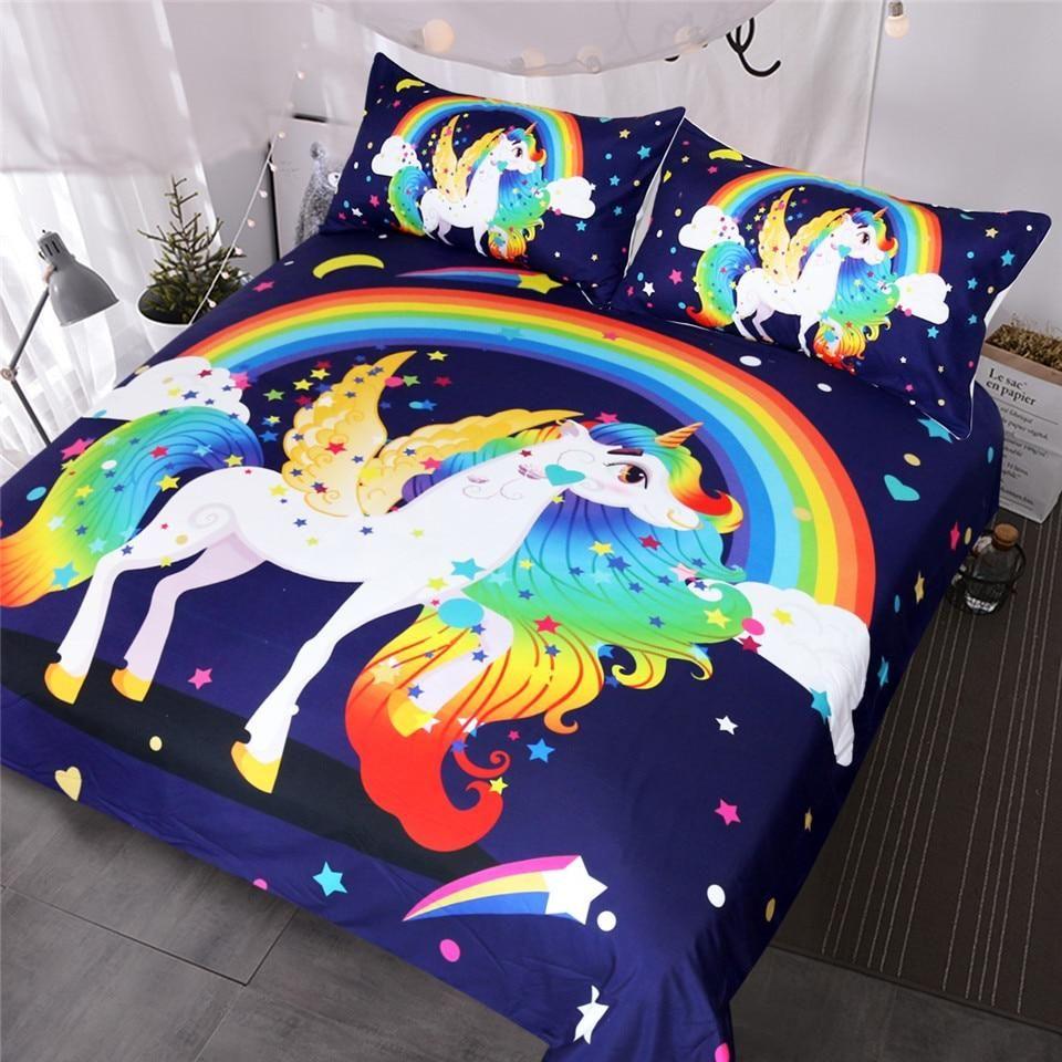 BlessLiving Unicorn Kids Bedding Duvet Cover Set Cute Magical Unicorn with