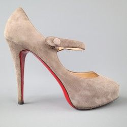 4814cf54e839 CHRISTIAN LOUBOUTIN Size 10 Taupe Gray Suede Platform Mary Jane Pumps