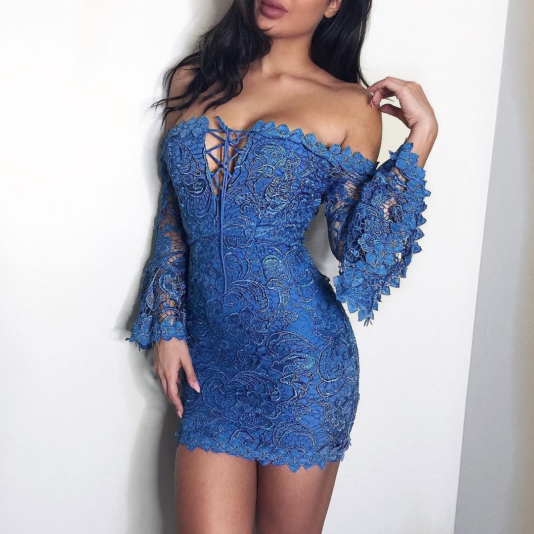 Lula blue crochet lace off shoulder dress available at emprada