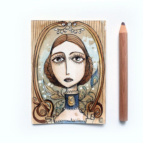 Madame Bovary - Gustave Flaubert - Emma Bovary ACEO OOAK - 9.44x12.60 inches -6.4x8.9 cm