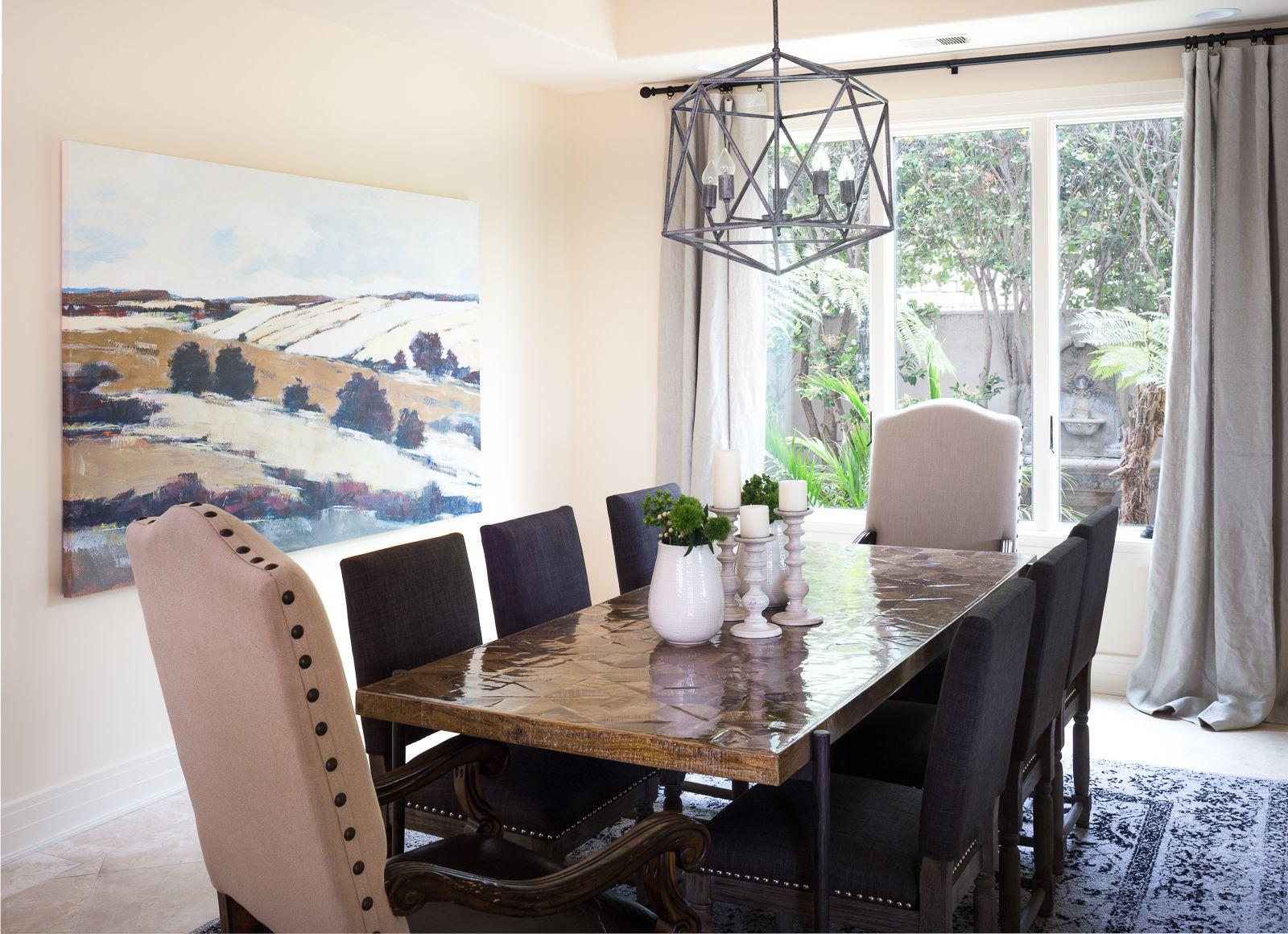 Dining Room art pendant iron drapery dining
