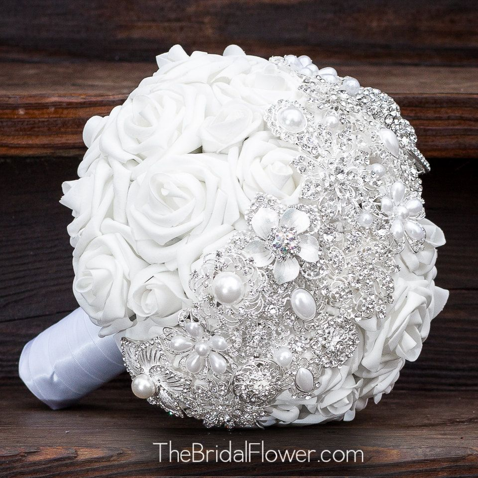 Brooch bouquet with white and silver brooch by