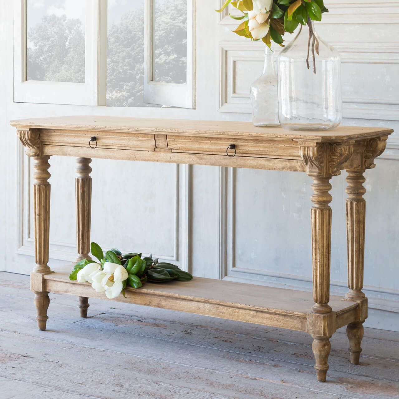 Avignon Console Table In Bleached Oak Finish Traditional Console
