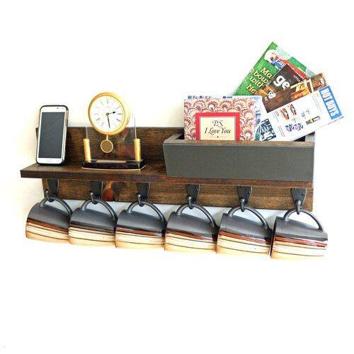 Rustic Wall Mounted Coffee Mug Rack with Shelf