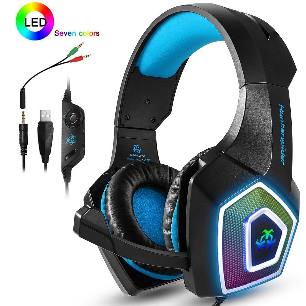 ps4 headset xbox one headphones gaming headset with led light stereo gamer headphones 3 5mm wired over ear noise isolating microphone volume control for  [ 1000 x 1000 Pixel ]