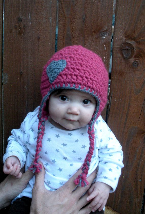 Chunky baby earflap hat in pink and grey with crocheted by luvbuzz ...