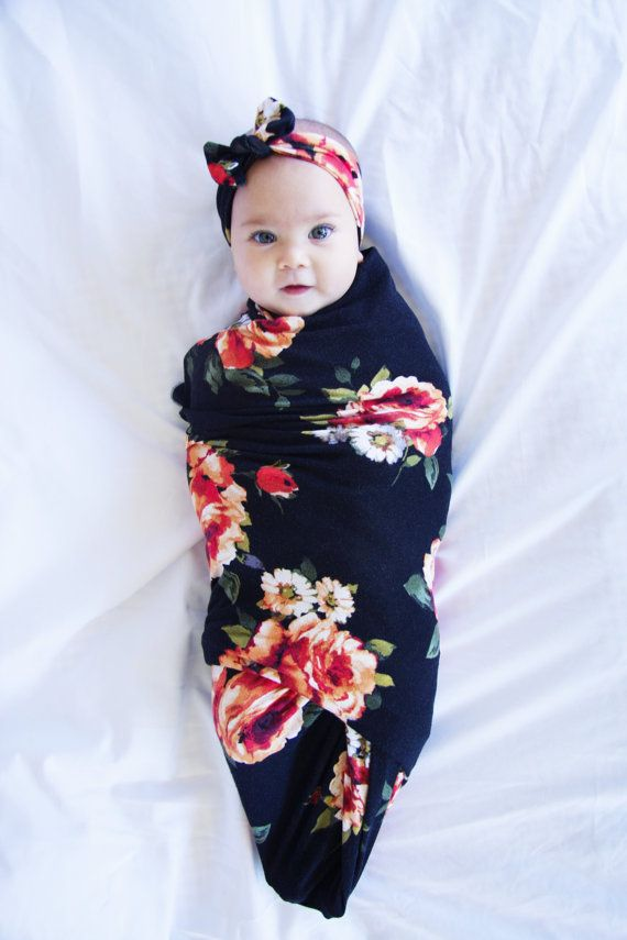 14a8db7badb4 Black Red Rose Swaddle Swaddle Blanket and Headband Set   Newborn ...