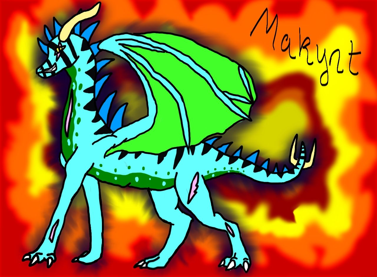 Makynt redrawn with a flame background