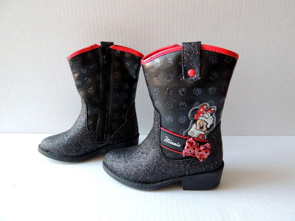 b43a4bbbe50b8 disney minnie mouse cowboy cowgirl black glitter boots size 10 nwt ...