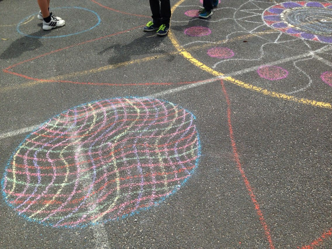 Chalk Mandalas on the Basketball Court | Mrs Power Moore's ...