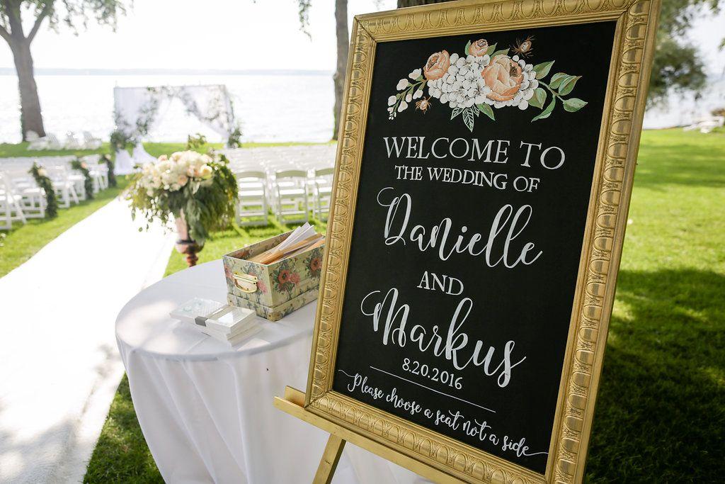Photography: Clark + Walker Studio| Venue: The Inns of Aurora | Floral + Event Design: Stacy K Floral | #weddingsign #weddingceremony #weddingceremonydecor