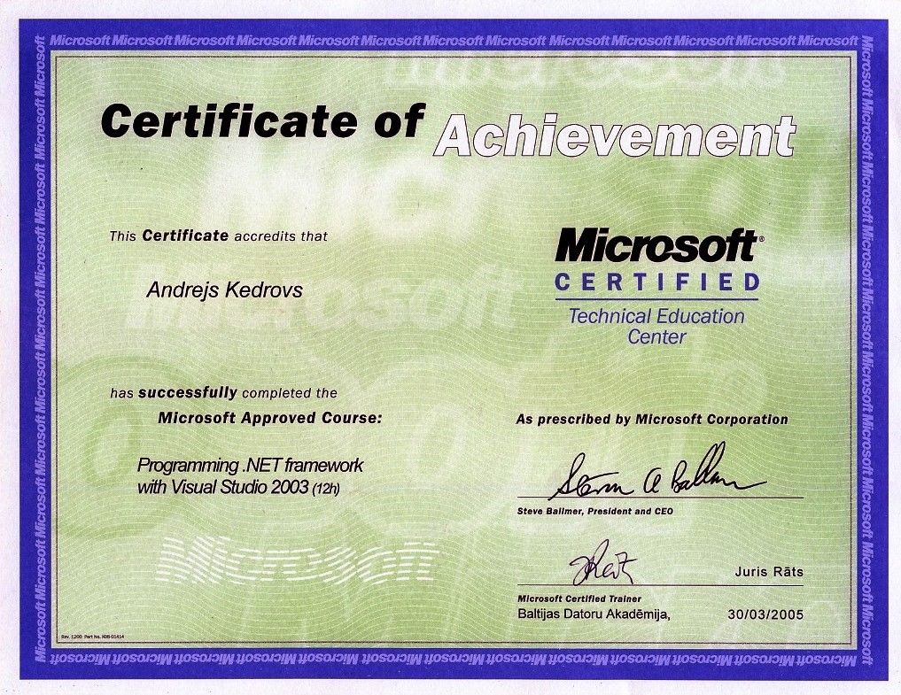 andrejs kedrovs microsoft certificate of achievement programming